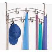 Lynk Over Door Accessory Holder, Scarf, Belt, Hat, Jewellery Hanger, 9 Hook Organiser Rack, Platinum