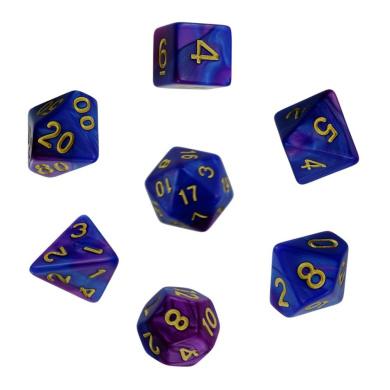 ISusser Blue Purple Polyhedral Dice 7 Dice Set