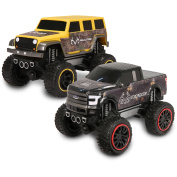 NKOK Realtree Push 'N Go Trucks, Ford F-150 and Jeep Wrangler Unlimited, 1:24 Scale