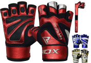 RDX Weight Lifting Gloves Gym Fitness Crossfit Workout Bodybuilding Powerlifting Exercise Cowhide Leather Breathable Long Wrist Support Strength Training