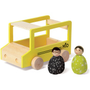Manhattan Toy MiO School Bus + 2 People Wooden Building Set