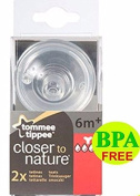 Tommee Tippee CTN Pack of 2 Easivent Thick Feed teats 6m+ bpa free