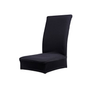 Solid Colour Soft Polyester Spandex Dining Stool Chair Cover Slipcover Black