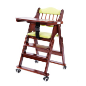 MallBoo Baby Chairs, Classic Comfort Beech Wood Foldable High Chair with Tray , Cushion and Universal Wheels