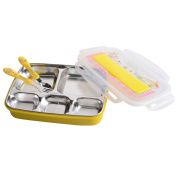 HJXJXJX Children's Plate 304 Stainless Steel Student Lunch Box Yellow With Spoon Fork Picnic Essential Luggage Box
