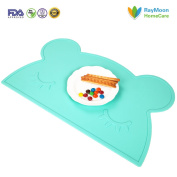 RayMoon Baby Bear Silicone Mat Non Slip and Washable Placemat for Kids Baby Toddler - Green