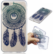 For iPhone 7 Plus Case [With Tempered Glass Screen Protector],Qimmortal(TM) Soft Clear Silicone Gel TPU Case Cover ,High Quality TPU with Colourful Cute Printed Pattern Fashion Design Protective Back Rubber Case Cover Shell Perfect Fitted For iPhone 7  ..