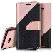 Galaxy J5 Prime Case,Galaxy J5 Prime Flip Wallet Case,Ukayfe Elegant Matte Two-colour Design Book Style Premium PU Leather Magnetic Wallet Flip Case Cover Protective Case with Card Slots for Samsung Galaxy J5 Prime, Black + Rose Gold