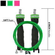 Synergee RX Speed Rope Jump Rope - (2) Adjustable 3m Cable - Steel Ball Bearings - For CrossFit, MMA, Boxing & Fitness, Anti-Slip Handles.