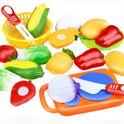 Elaco 12PC Cutting Fruit Vegetable Pretend Play Children Kid Educational Toy Christmas Gift