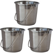 AmeriHome Small Stainless Steel Bucket Set, 3-Piece