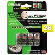 Quick Pressure -28 PSI Tyre Pressure Monitor Valve Cap (4 units/pack) Chrome