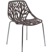 LeisureMod Modern Asbury Dining Chair w/ Chromed Legs in Taupe
