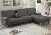 1PerfectChoice Adjustable Sofa Bed Futon Chaise Lounge Slate Tufted Linen-Like Fabric Console
