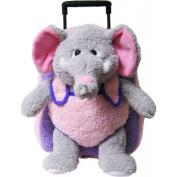 Kreative Kids 8051 Elephant Plush Rolling Backpack - Pink and Purple
