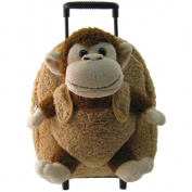 Kreative Kids 8095C Brown Monkey Plush Rolling Backpack