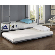 Twin Metal Trundle Bed, Silver