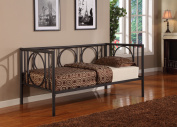 Twin Size Black Metal Day Bed Frame With Headboard, Footboard, Rails & Slats