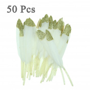 50Pcs Natural White Gold Sparkle Dipped Feather In Bulk For Wedding Craft Party Birthday Baby Shower Bridal Shower Decoration