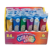 GLITTER GLUE 75ML/2.5OZ 24PCPDQ 6AST CLRS TOOTHPASTE TUBE SHAPE, Case Pack of 24