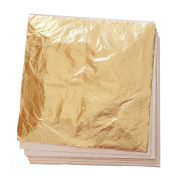 100 Sheets Imitation Gold Leaf for Art, Crafts Decoration, Gilding Crafting, Frames, 14cm by 14cm