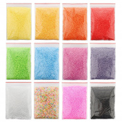 SOTOGO Styrofoam Balls 0.08-0.4cm 11 Different Single Colours And One Mixed Colour For DIY Craft Supplies,12Packs Available,96000 Particles Total