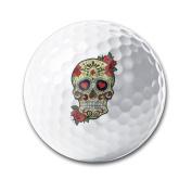 Sugar Skull And Roses Retro Style White Elastic Golf Balls Practise Golf Balls Golf Training Aid Balls