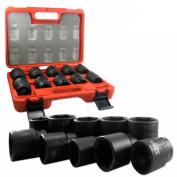 1.9cm Drive Black Impact Socket Wrench Tool Set Dual Size Metric and SAE