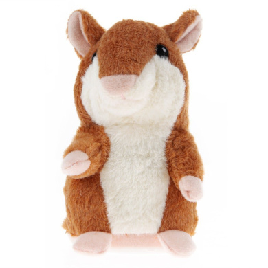 Coolly Lovely Talking Hamster Plush Toy Sound Record Speaking Hamster Talking Toys Mimicry Pet Hamster Talking Plush Animal Toy Electronic Hamster Mouse for Children Kids Brown