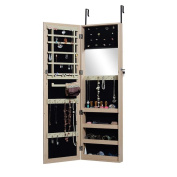 Organizedlife Full Length Mirror Jewellery Armoire Cabinet Chest with Lock Wall Door Mount
