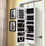 lifewit lockable full length mirrored jewellery cabinet, wall door mounted bedroom armoire, makeup organiser with led light, white