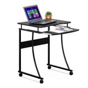 Furinno Besi Metal Frame Computer Desk with Keyboard Tray, Espresso FCG295EX