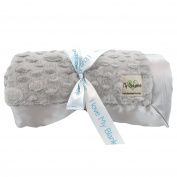 My Blankee Luxe Stone Super Throw Blanket with Flat Satin Border, Silver, 150cm X 180cm