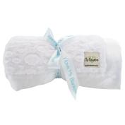 My Blankee Luxe Stone Throw Blanket with Flat Satin Border, White, 130cm X 150cm