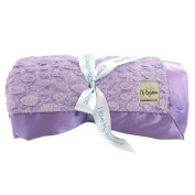 My Blankee Luxe Stone Throw Blanket with Flat Satin Border, Lilac, 130cm X 150cm