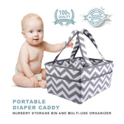 Baby Tooshy Nappy Caddy Organiser - Strong, Portable, Large, Sturdy - Keeps Everything Organised - Removable Divider for Multipurpose use. Suitable for Cloth or Disposable Nappies. Chevron Grey
