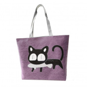 Sinfu Storage Bag Cartoon Cat Women Canvas Bags Shoulder Bag Handbag