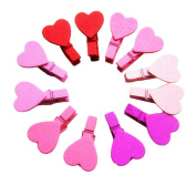 Sinfu 12Pc Heart Love Wooden Photo Paper Peg Pin Clothespin Craft Clips