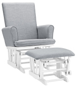 Angel Line Ashley Semi-Upholstered Glider and Ottoman, White with Grey Cushion