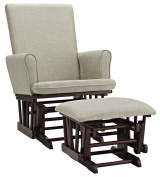 Angel Line Ashley Semi-Upholstered Glider and Ottoman, Espresso with Beige Cushion