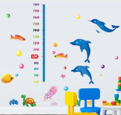BIBITIME Underwater World Height Chart 3 Dolphins Algae Coral Turtle Fish Bubbles Wall Decal Sticker for Nursery Growth Charts Children Kids Room Decor Art Mural (Minimum scale