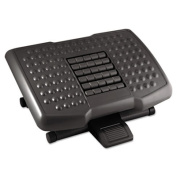 Premium Adjustable Footrest With Rollers, Plastic, 18w x 13d x 4h, Black, Sold as 1 Each