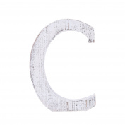 "Adeco Wooden Hanging Wall Letters ""C"" - White Decorative Wall Letter of Living Room, Baby Name and Bedroom Décor, Whitewash"