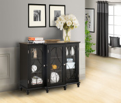Black Wood Sideboard Buffet Console Table With Glass Cabinet Doors & Storage