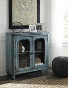 Ashley Furniture Mirimyn Antique Teal Accent Cabinet With 2 Framed Glass Doors