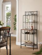 Black Metal & Wood Kitchen Bakers Rack With Storage Shelves & Wine Rack