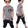 TRENDINAO Summer Toddlers Kids Boys Clothes Navy Striped T-shirt+Pants Clothing Suits