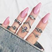 Women Bohemian 7pcs/Set Vintage Silver Stack Rings Above Knuckle Rings Set