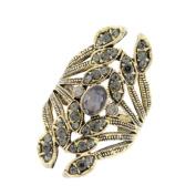 Size 8-9 Rings,Prettymenny Women Retro Leaves Ring Crystal Jewellery