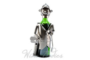 Happy Golfer with Bag Metal Wine Bottle Holder Kitchen Display Character